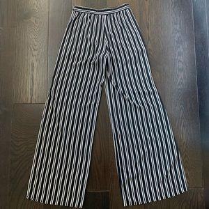 Black & White Side Cut Flowy Pants